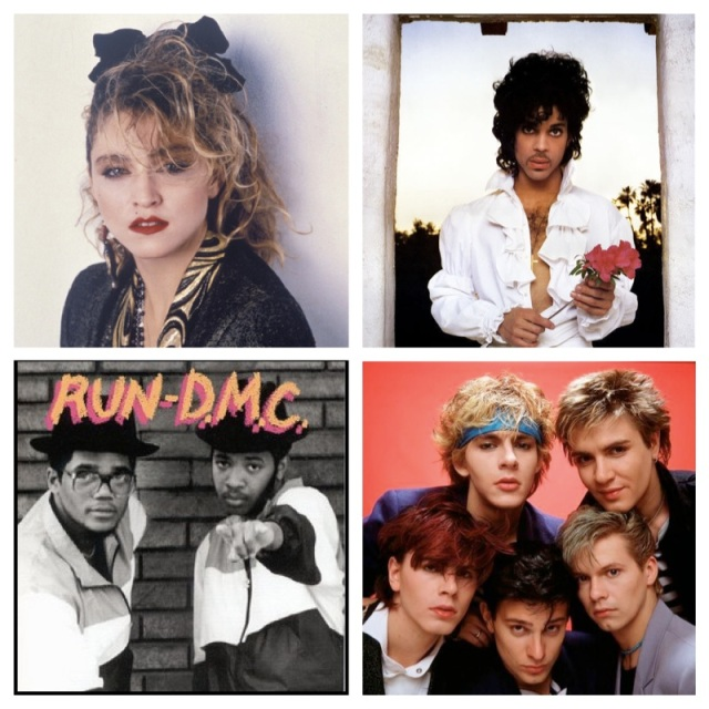 Madonna, Prince, Run DMC and Duran Duran
